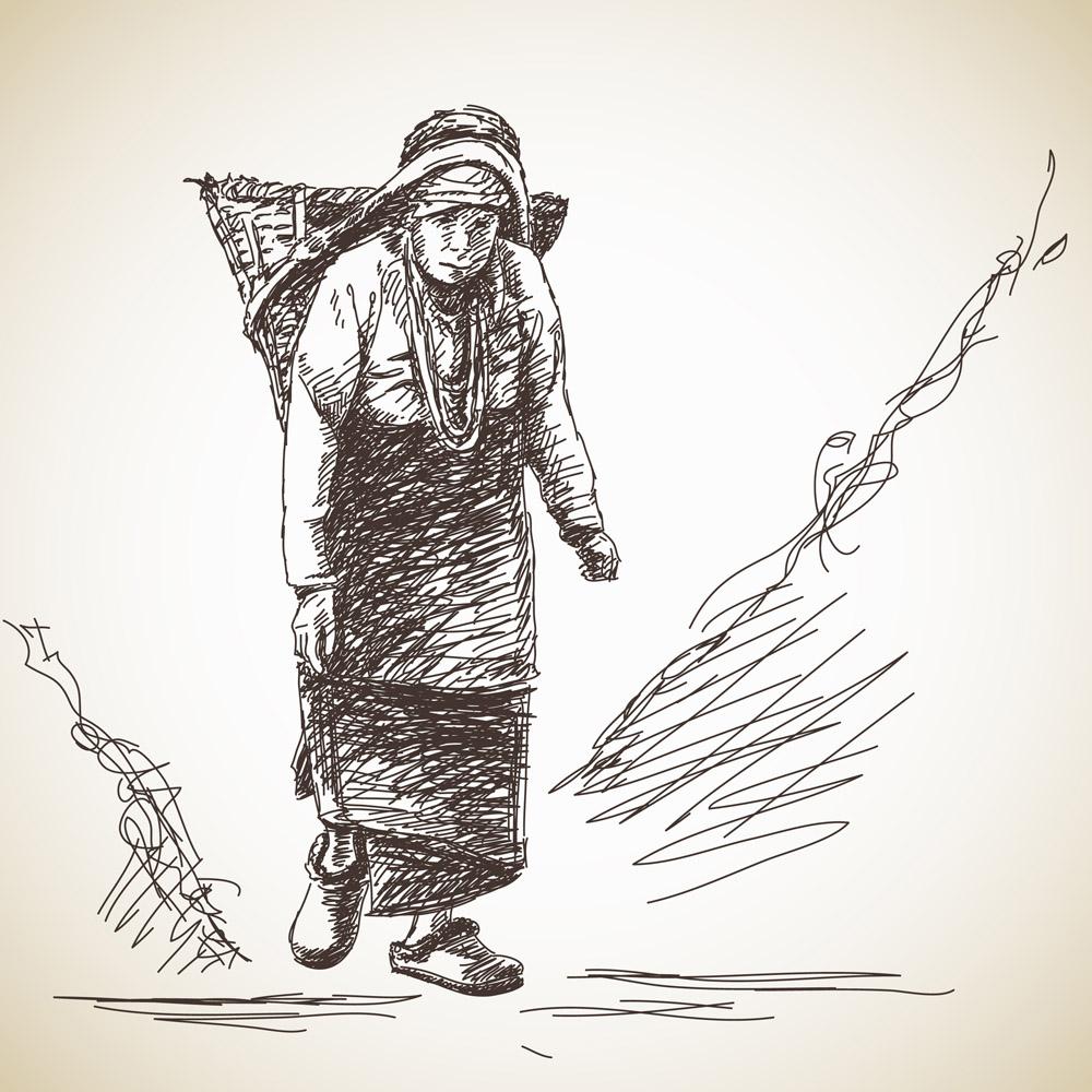 рисунок. непальская женщина несет корзину